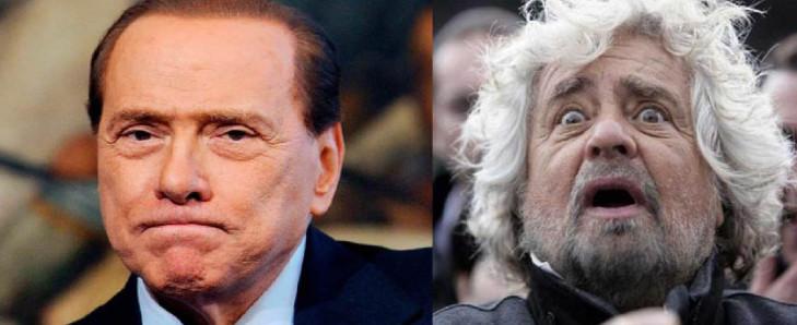 Grillo, Bersani, Berlusconi e i 'clown'