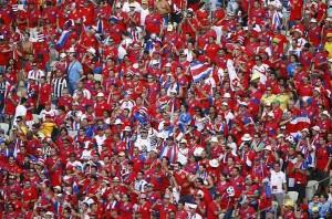 I numerosissimi tifosi della Costa Rica
