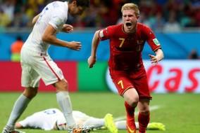Tutta la gioia di De Bruyne dopo il gol del vantaggio belga