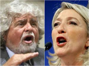 Beppe Grillo e Marine Le Pen