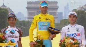 Il podio del Tour2014: con Nibali, i francesi Pèraud e Pinot