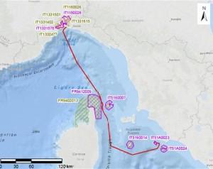 mappa del tragitto della Concordia dal Giglio al porto di Genova