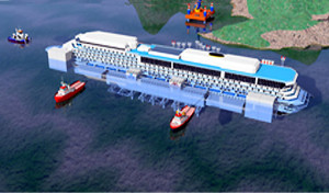 Un grafico che riproduce la Costa Concordia trainata dai rimorchiatori