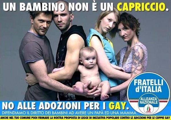 Adozioni gay,  FdI ruba scatto a Toscani ed è bufera
