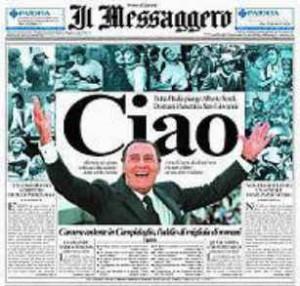 """La prima pagina de """"Il Messaggero"""" il giorno dopo la scomparsa di Albertone"""