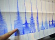A man points at a seismic chart at the C