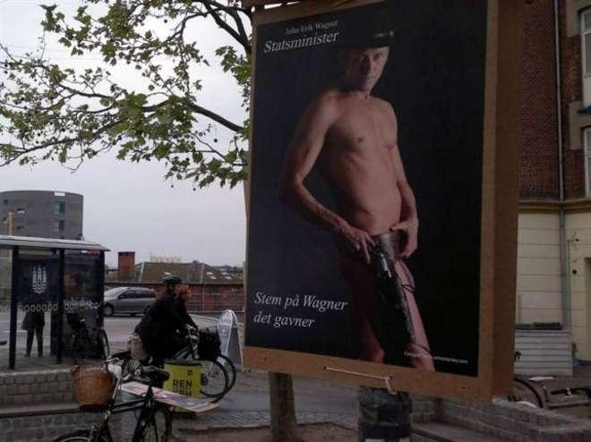 Nudo con pistola: l'alternativa selvaggia di un candidato danese
