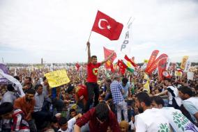 Supporters of Demirtas, co-chairman of the pro-Kurdish People's Democratic Party, attend an election rally ahead of Turkey's June 7 parliamentary elections in Istanbul