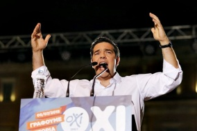 Greek Prime Minister Alexis Tsipras addresses YES supporters
