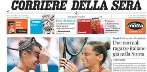 Vinci e Pennetta sulle prime pagine di tutti i giornali