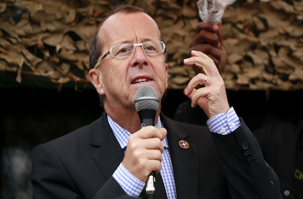 U.N. special envoy to Congo, Kobler, addresses troops during a special parade in the eastern DRC