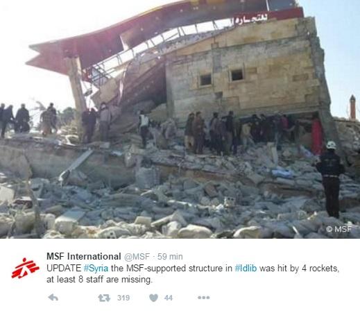 Siria: bombe su due ospedali, 23 morti