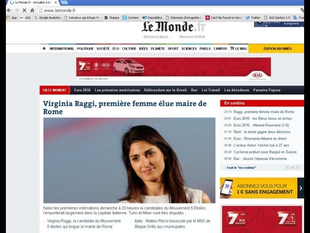 Comunali Roma, vittoria Raggi su stampa estera