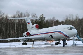 A Tupolev Tu-154 stands on the tarmac of the Chkalovsky military airport north of Moscow, Russia January 15, 2015. Picture taken January 15, 2015. REUTERS/Dmitry Petrochenko