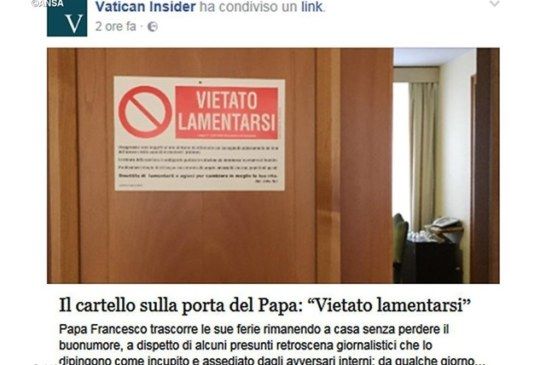 Vietato lamentarsi: il monito di papa Francesco
