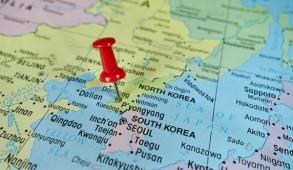 Pushpin marking on Pyongyang, North Korea map