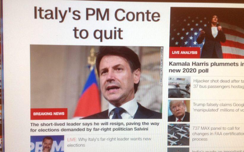 Crisi governo e dimissioni Conte sui siti stranieri