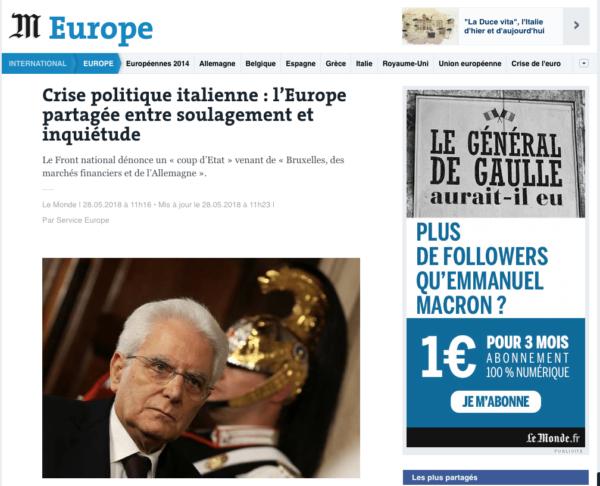 La crisi di governo vista dalla stampa estera